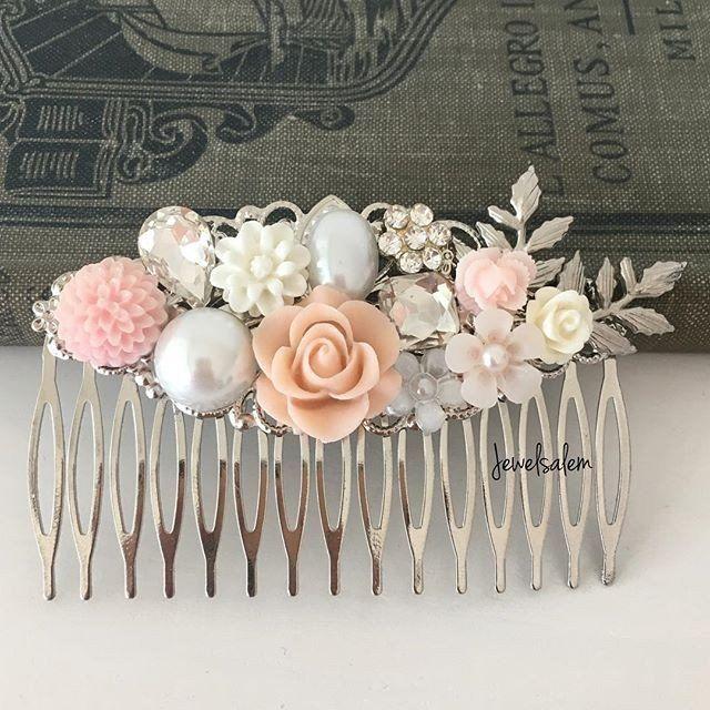 Silver Wedding Comb Elegant Chic Pastel Pink Bridal Headpiece Romantic Flower Hair Slide Custom Made Bridesmaids Hair Clip Vintage Hair Adornment