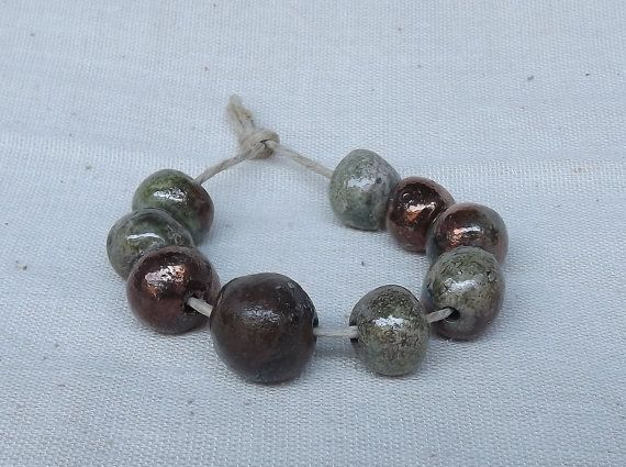 9 Ceramic beads glossy glaze raku by BlueBirdyDesign on Etsy, €9.00