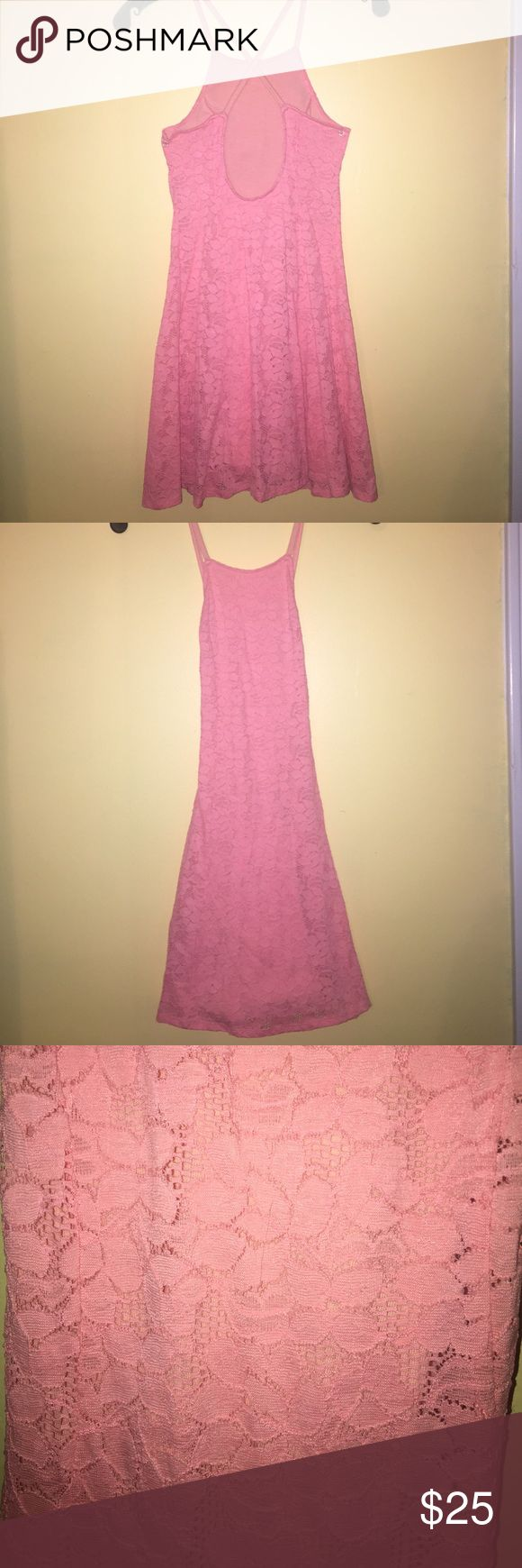 Hollister pink/peach lace dress. Pink/ peach color. High neck, straps cross in the back, fitted but loose at the bottom. Size XS Hollister Dresses Mini