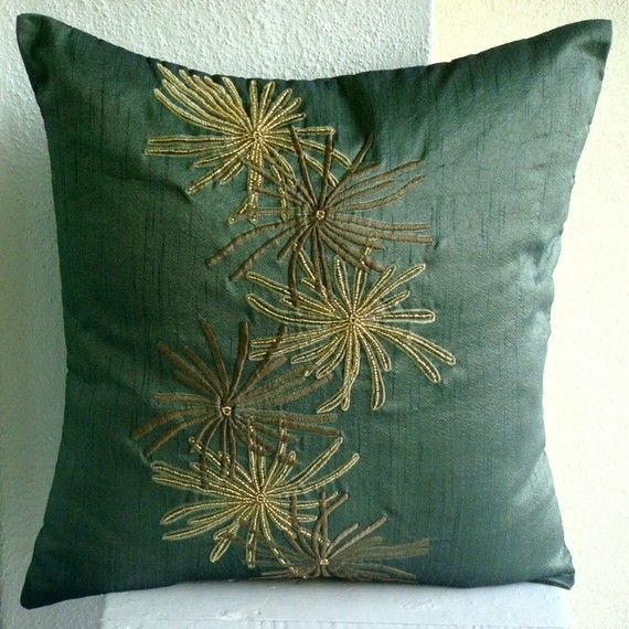 Luxury  Dark Green Throw Pillows Cover Botanical by TheHomeCentric
