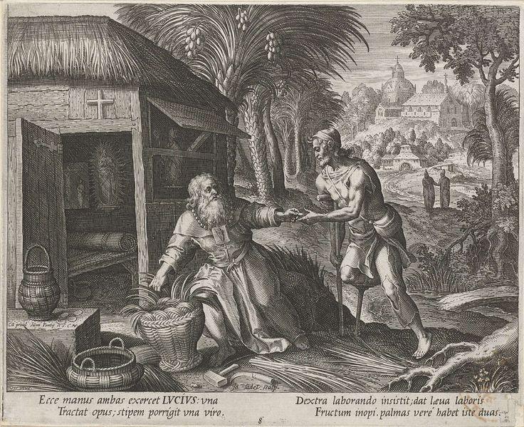 Johann Sadeler (I) | Heilige Lucius als kluizenaar, Johann Sadeler (I), 1600 | Op de voorgrond de H. Lucius, een vroegchristelijke kluizenaar en latere paus. Hij vlecht een mand en geeft een aalmoes aan een kreupele man naast hem. Links zijn hut. Op de achtergrond een kerk en twee monniken.