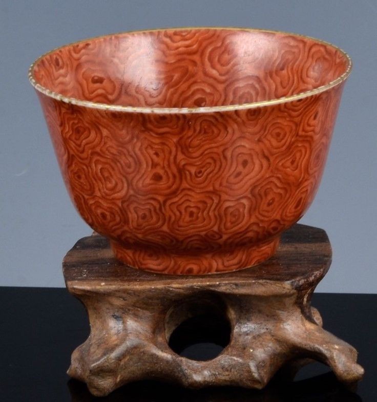 IMPORTANT 18c CHINESE IMPERIAL YONGZHENG MARK PERIOD FAUX-BOIS EGGSHELL WINE CUP