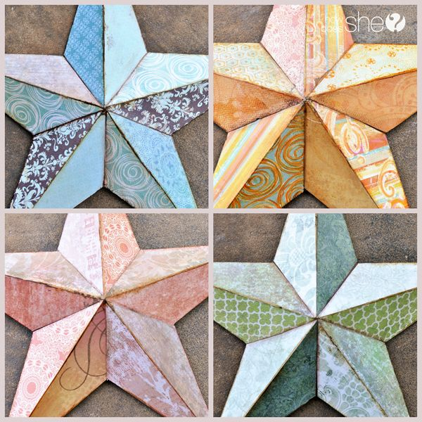 DIY Craft - Mod Podge fabric onto those metal bronze stars to give them a more customized feel - How Does She