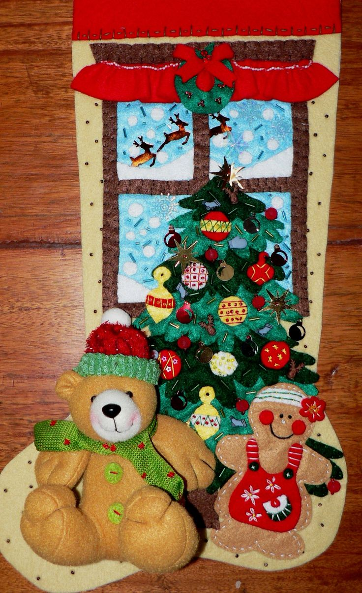 Christmas stocking decoration ideas - Osito Y Galletita Felt Toyschristmas Stockingschristmas Decorationsideas