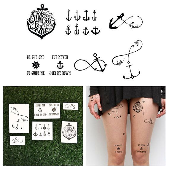 Anchor Set  Temporary Tattoo Set of 6 by Tattify on Etsy, $15.00