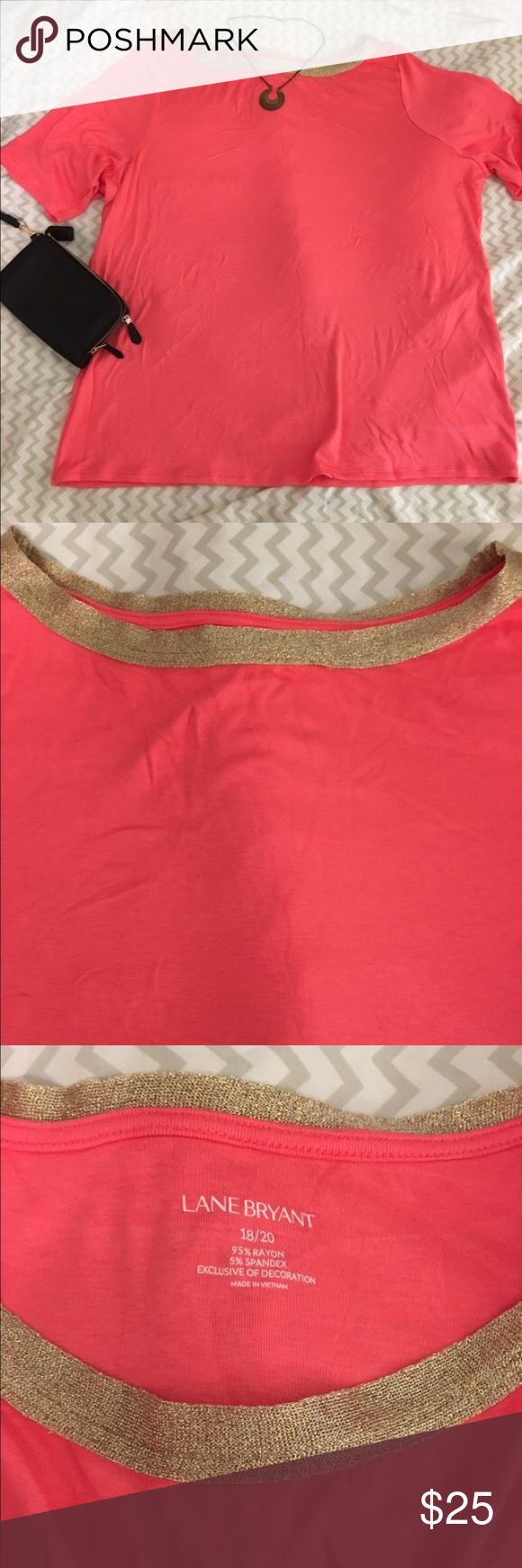 Lane Bryant Coral Shirt with Gold Trim Short sleeved coral shirt by Lane Bryant with gold trim. This is very soft and very flattering material. Can be dressed up or down. Size 18/20- new without tags. Never worn. Lane Bryant Tops Tees - Short Sleeve