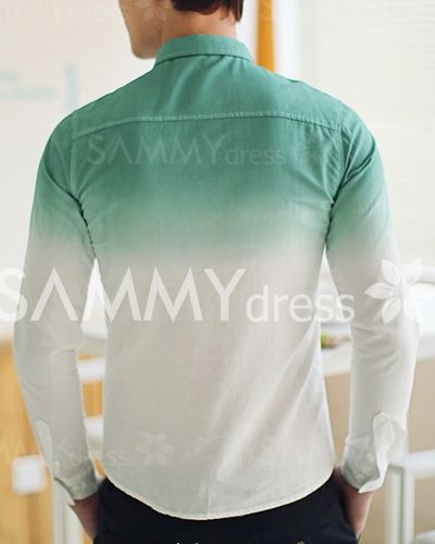 Two-Tone Color Ombre Sutures Design Slim Fit Turn-down Collar Long Sleeves Cool Shirt For Men