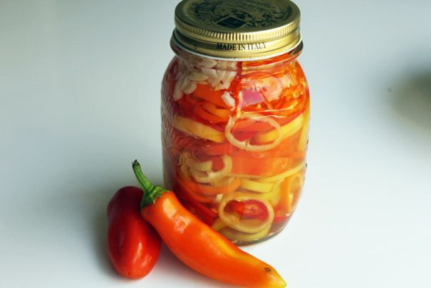 "Sweet and Spicy Pickled Peppers - Amateur Gourmet recipe ""They're still spicy, yes, but now they're approachably spicy. Like a friendly drag queen."""