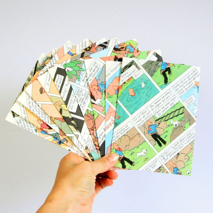 Set of 10 Tintin envelopes, party invitation, greeting card, comic party by…