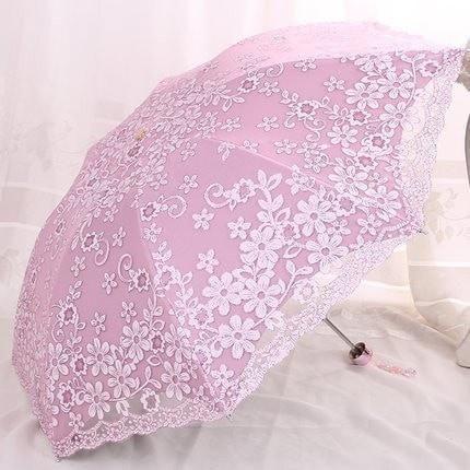 Elegant Women's Fashion Lace-Embroidered Double-Layer Anti-UV 2 or 3-Folding Umbrella 6 Colors