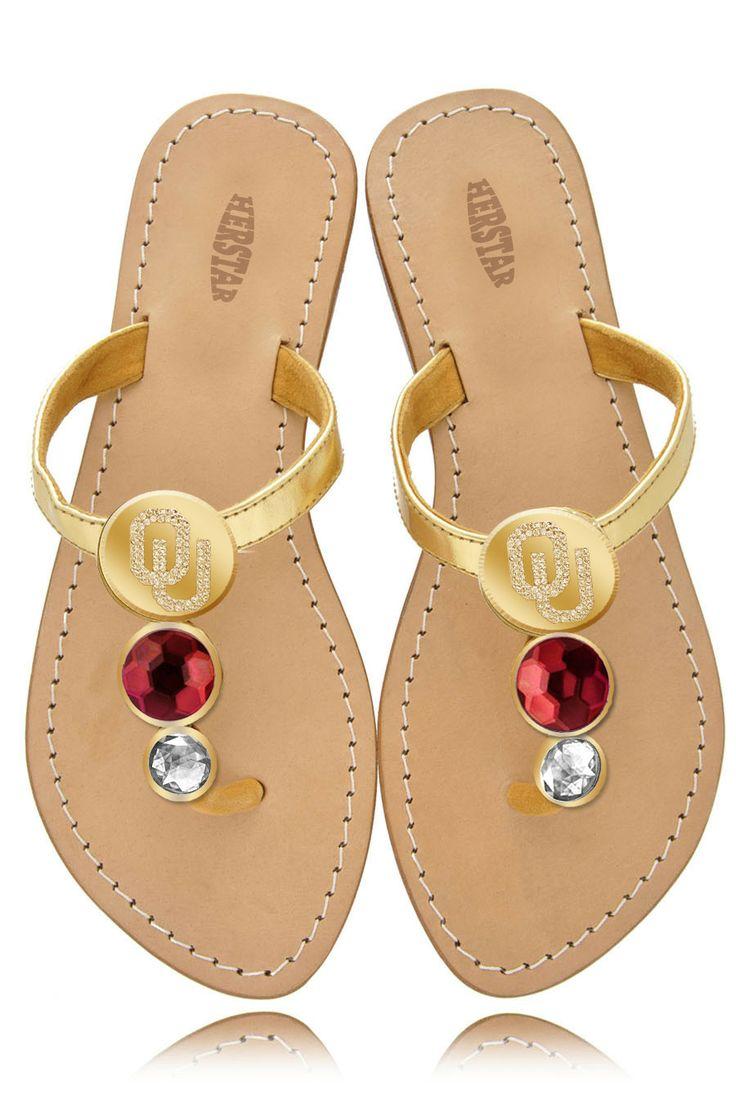 Oklahoma Sooners Ladies Jewel Embellished Flat Sandals – HERSTAR  GREAT FOR SUMMER!