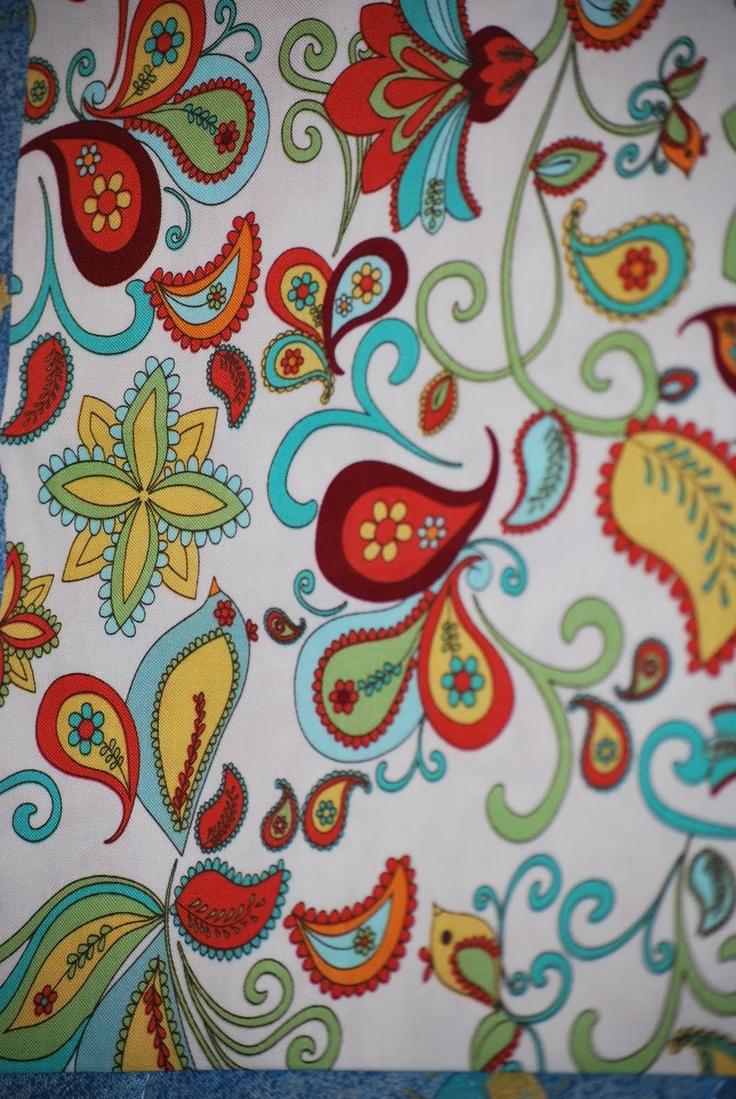 Love flower power daisy graffiti print cotton fabric 60s 70s retro - Flowers