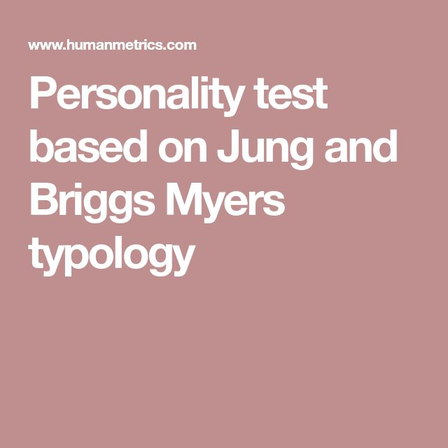 Personality test based on Jung and Briggs Myers typology