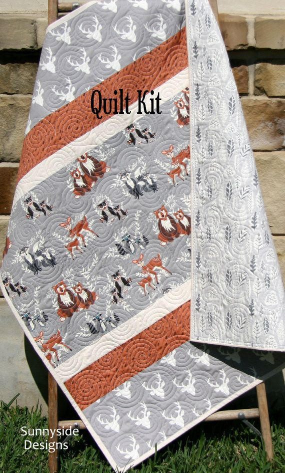 Woodland Quilt Kit Baby Boy Diy Project Forest Animals