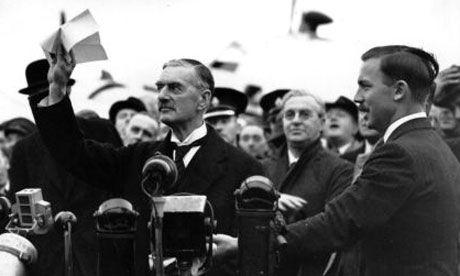 Neville Chamberlain after The Munich Agreement, 30th September 1938