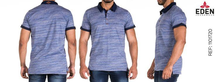 Camiseta azul tipo polo, para hombre