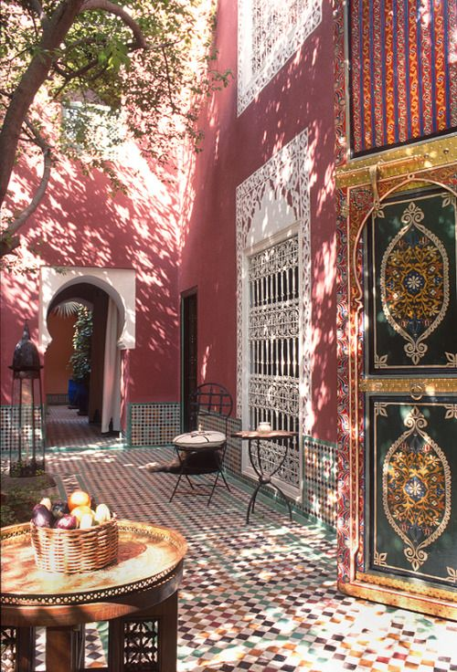 Courtyard, Marrakech, Morocco - Explore the World with Travel Nerd Nici, one Country at a Time. http://travelnerdnici.com/