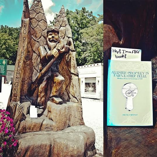 At the feet of a wooden woodsman. Each Allister book is registered at BookCrossing.com, a site dedicated to the idea of sending books on journeys. We're posting each dropped book's whereabouts on Twitter @AllisterCromley and on Instagram at allistercromley (go ahead and give them a follow, if'n you like).