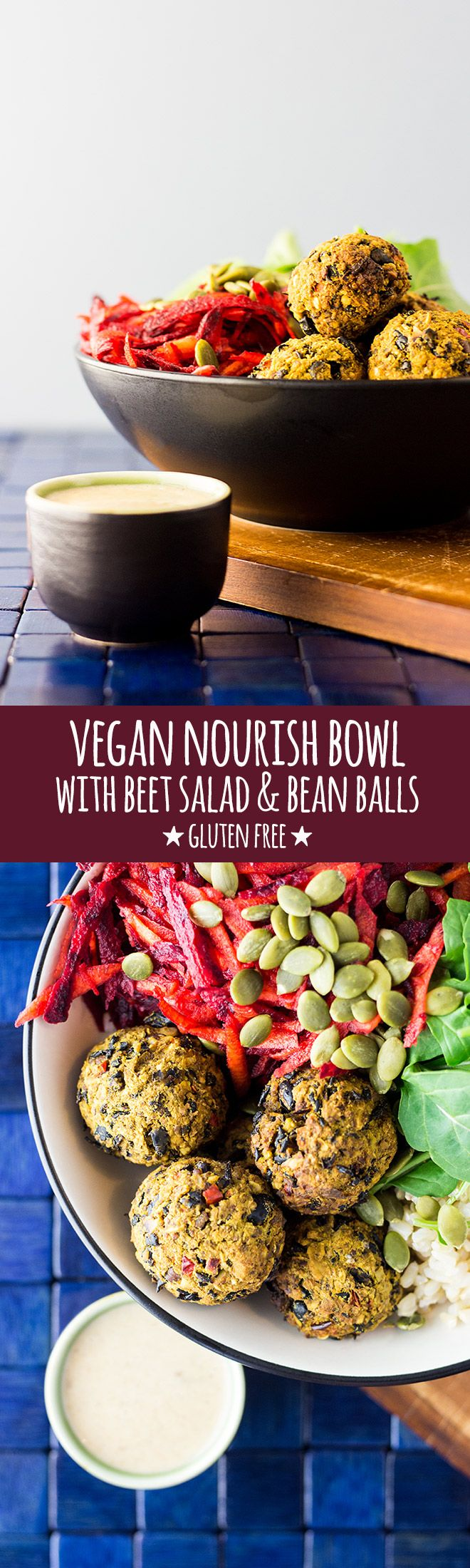 This tasty vegan nourish bowl with beet salad and black bean, walnut and turmeric balls will help you recharge in all the right ways. via @quitegoodfood