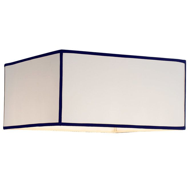"""16"""" White with Color Trim Square Lamp Shade white_with_navy_trim"""