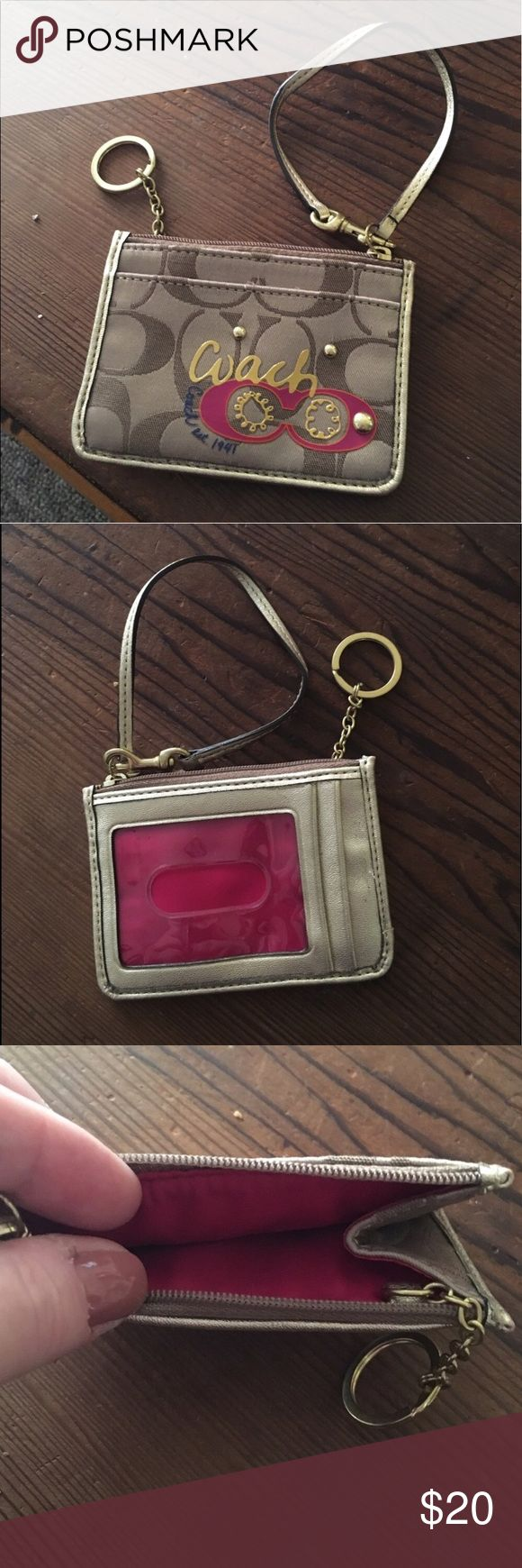 FINAL PRICE 💯authentic Coach key ring/card holder Great condition. Hardly used. So pretty gold and pink!! ❤️make an offer!❤️ this IS AUTHENTIC.  I bought from the coach store myself. Bags Clutches & Wristlets