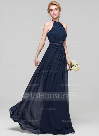 [US$ 107.49] A-Line/Princess Scoop Neck Floor-Length Chiffon Bridesmaid Dress With Ruffle (007090150)