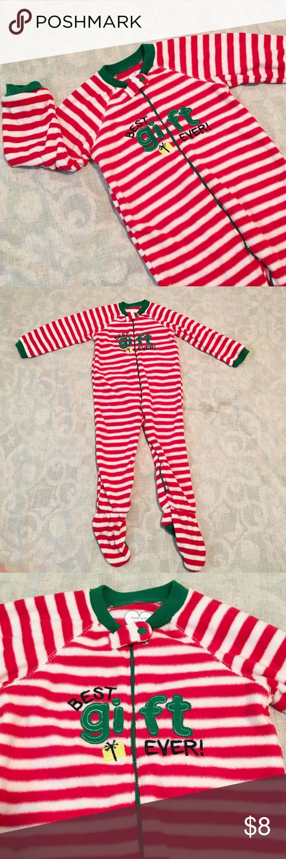 Fleece Christmas Footie Pajamas Unisex Red and white striped footie pajamas with green trim. 100% polyester. Flame retardant. Children's Place Pajamas