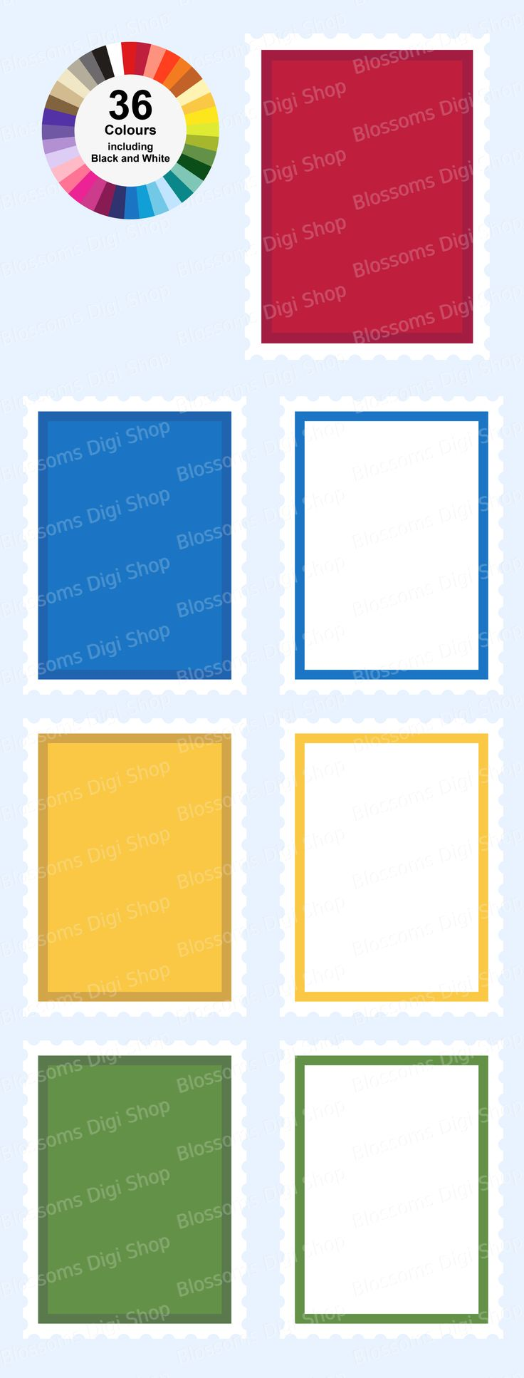 A single image clipart set in 2 styles of 36 colours each. Available at Etsy for digital download. Designed for personal and commercial use.