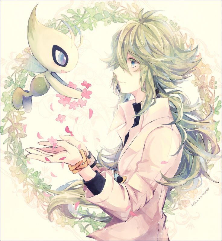 This is so pretty. I bet if this takes placce after N realized Ghetisis (however you spell his name) used him, he'd ask to go back and redo it all. #N #Celebi #Pokemon