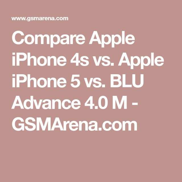 Compare Apple iPhone 4s vs. Apple iPhone 5 vs. BLU Advance 4.0 M - GSMArena.com