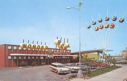 Wonder Bowl, Anaheim, CA - now demolished; located just south of the Disneyland Hotel, on land that is now the Simba Parking Lot for the Disneyland Resort. Address was 1177 W. Katella, Anaheim, CA
