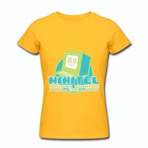 T shirt jaune femme Minitel invention française - Tee shirt Femme, American Apparel