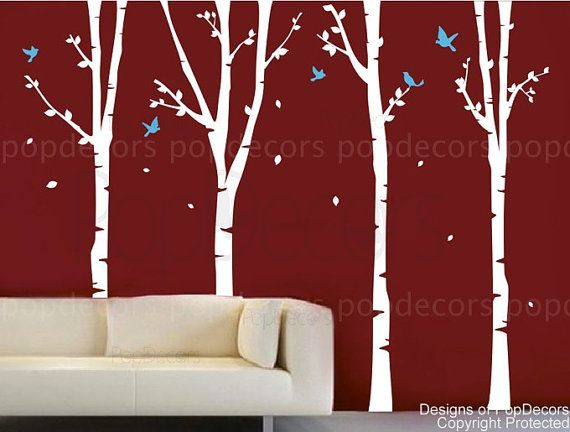 Tree Wall Decal Nursery Removable Wallpaper Baby Room Decals- 4 Super Birch Trees(90inch H) -Designed by Pop Decors