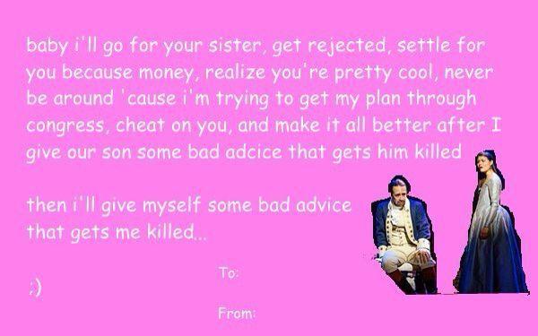 Hamilcast Texts Valentines Day In 2021 Hamilton Valentine Valentines Memes Funny Valentines Cards