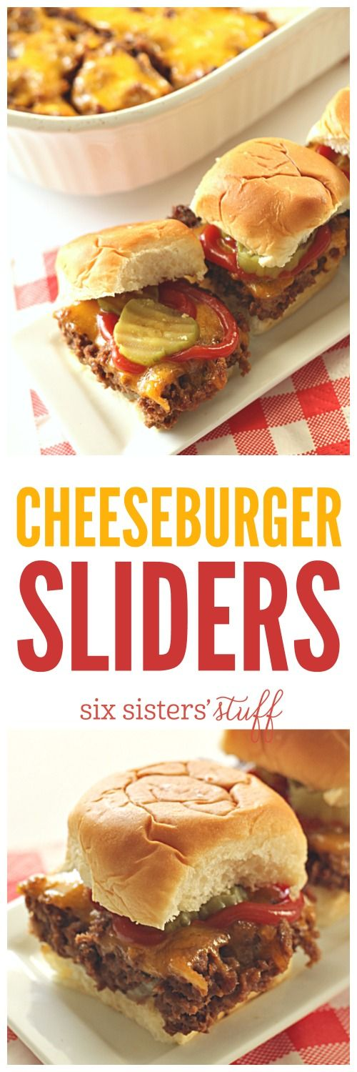 "Baked Cheeseburger Sliders - you bake these in a 9x13"" pan! SixSistersStuff.com"