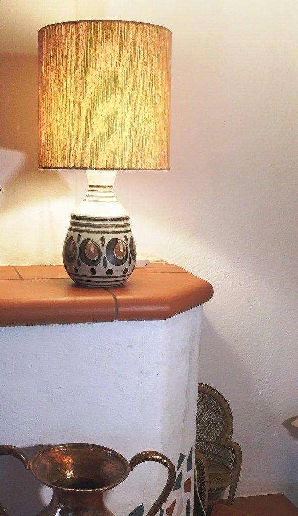 Mid Century Modern Tischlampe Steh Lampe Keramik Mit Zauberschirm Beige Braun Kurbis Handbemalt Steingut H 54 Cm Decor Lamp Table Lamp