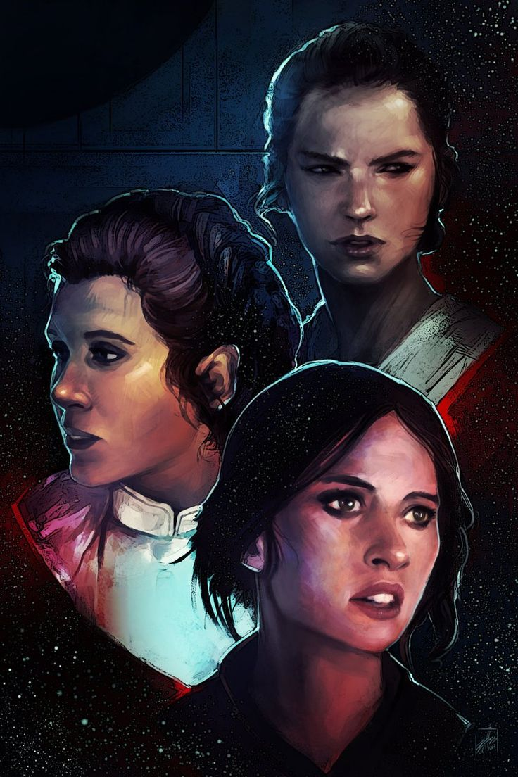 "Star Wars Art Gallery (@SW_ArtGallery) | ""Star Wars Heroines"" | by Zachary D. Bradley (http://zachdb.deviantart.com ) Rey - Princess Leia - Jyn Erso"