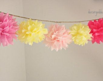 Pink Lemonade Birthday Decoration- Garland Decor-Tissue Garland-Girl Birthday Decor-Baby Shower Decor-Bridal Shower
