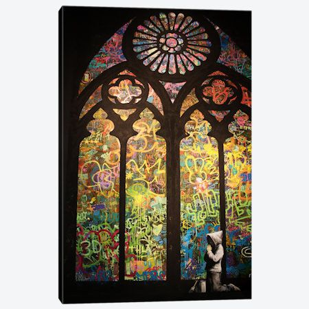 Stained Glass Window Graffiti Canvas Print #2165} by Banksy Canvas Wall Art