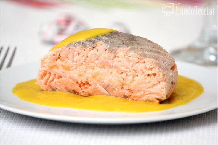 Salmón relleno de su mousse con salsa de mango - Navidad. Thermomix.