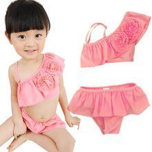 Muchachas de los cabritos Floral traje de baño Bikini volantes Top + pantalones traje de baño 2-9Y YRD(Hong Kong)