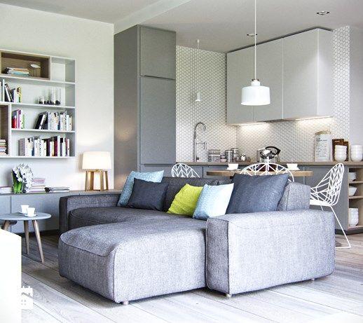 salon z widokiem na kuchnię - zdjęcie od Projektownia Wnętrz