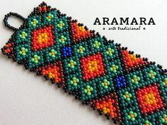 Mexicana Huichol abalorios Peyote pulsera PG-0009 por Aramara
