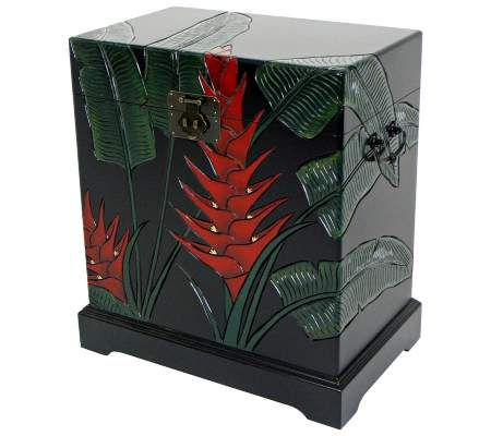 Tropical Heliconia Flower Carved Storage Trunk | 55DowningStreet.com