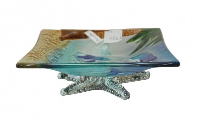 Dolphin Glass Square Plate22*7 - Homewares - Lifestyle Lane