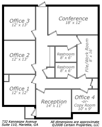 Small-Office Floor Plan | Call 678-318-1970 for more information.