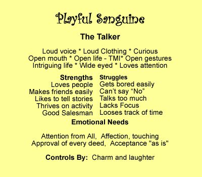sanguine personality | To see descriptions of the other personality types