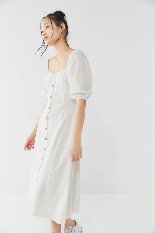 795b06c206 UO Maria Puff Sleeve Button-Front Midi Dress in 2019 | Style ...