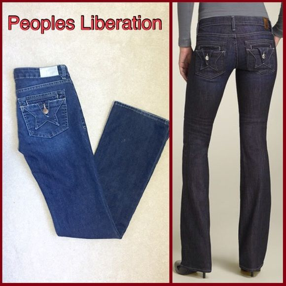 "$20 SALE People's Liberation Low-Rise Jeans $20 SALE- Ask for the lower price! People's Liberation jeans in medium blue wash. Low-rise bootcut with cool star detail on the back pockets. Size 26, inseam 31"". Excellent Condition! Peoples Liberation Jeans"