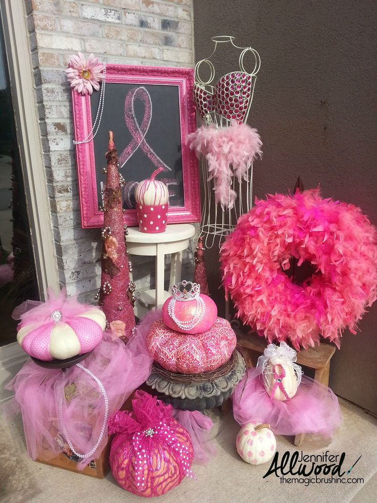 pink pumpkin fall decor for breast cancer awareness month - Breast Cancer Decorations